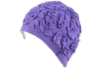 (Lilac) - Beemo Swim Bathing Caps for Women/Girls Retro Style Latex with Embossed Flower Pattern Ornament Swimming Hat Long & Short Hair