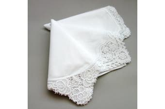 White Wedding Cluny Lace Ladies Cotton Handkerchiefs Hankie Hanky- Set of 3