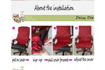 (Dark Grey) - Deisy Dee Slipcovers Cloth Universal Computer Office Rotating Stretch Polyester Desk Chair Cover C062 (Dark Grey)
