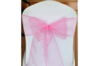 (LIGHT PINK) - ATCG 25pcs Beautiful Organza Chair Cover Ribbon Sash for Wedding & Banquet Decor (LIGHT PINK)