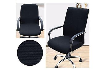 (Large, Black) - Beyonder Office Slipcovers Cloth Chair pads Universal Stretch Spandex Removable office Chair Cover Protector Seat (L, Black)