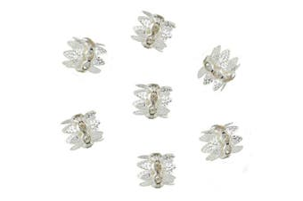 (10x10.5mm, silver) - 30PCS 10mm Silver Plated Double Beads Caps With Rhinestone Filigree Flower Cup for Jewellery Making DIY (HT-1000-1)
