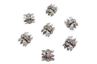 (10x10.5mm, rhodium) - Coiris 30PCS 10mm Rhodium Double Beads Caps with Rhinestone Filigree Flower Cup for Jewellery Making DIY (HT-1000-2)