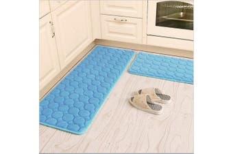 (41cm  x 60cm +41cm  x 120cm , Blue) - Kitchen Rugs,CAMAL 2 Pieces Non-Slip Memory Foam Kitchen Mat Rubber Backing Doormat Runner Rug Set (41cm x 60cm +41cm x 120cm , Blue)