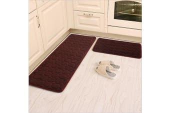 (50cm  x 80cm +60cm  x 160cm , Brown) - Kitchen Rugs,CAMAL 2 Pieces Non-Slip Memory Foam Kitchen Mat Rubber Backing Doormat Runner Rug Set (50cm x 80cm +60cm x 160cm , Brown)