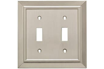 (Satin Nickel) - Franklin Brass W35220-SN-C Classic Architecture Double Toggle Switch Wall Plate / Switch Plate / Cover, Satin Nickel