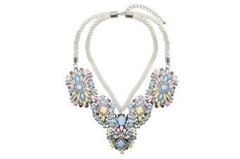Adorning Ava Statement Beaded Collar Necklace Chunky Pastel Rope Rhinestone Jewel Silver