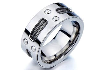 (Q) - Mans Stainless Steel Ring Wedding Band with Steel Cables and Screws 10mm