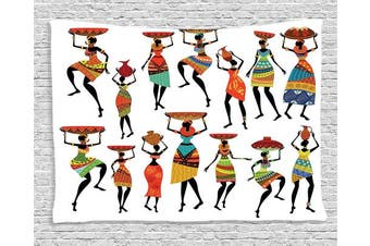 (200cm  W By 150cm  L, Multi 16) - African Decor Tapestry by Ambesonne, Pattern of Cool African Women Carrying Some Ethnic Ornaments on Their Heads Artprint, Wall Hanging for Bedroom Living Room Dorm, 80 W X 60 L Inches, Multicolor
