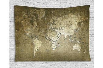 (150cm  W By 100cm  L, Multi 13) - World Map Tapestry Antique Decor by Ambesonne, Old Map with Great Texture Nostalgic Ancient Plan Atlas Trace of Life World Print, Bedroom Living Room Dorm Art Wall Hanging, 150cm X 100cm , Khaki Beige