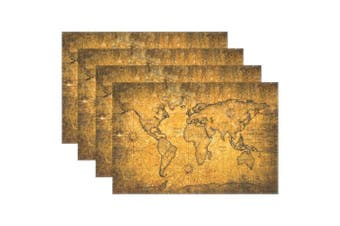 (4, Multi15) - Distressed Vintage World Map with Texture Heat-resistant Table Placemats Set of 4 Stain Resistant Table Mats Washable Eat Mat Home Dinner Decorative