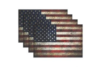 (6, Multi6) - Retro American Flag Fourth of July Patriotic Freedom Stripe Stars Heat-resistant Table Placemats Set of 6 Stain Resistant Table Mats Washable Eat Mat for Parties Everyday & Holidays Use
