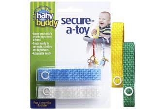 (Yellow/Blue/White/Green) - Baby Buddy 4 Piece Secure-A-Toy, Yellow/Blue/White/Green
