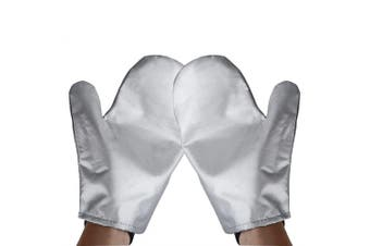 Garment Steamer Ironing Gloves Mitt Tingtio Anti Steam Gloves Durable Heat Resistant Waterproof Protective Ironing Glove for Garment Steamer Silver-1 Pair
