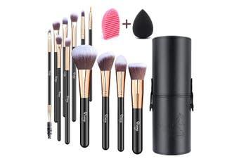 (Black with Rose Gold) - Qivange Makeup Brushes, Flat Foundation Blush Eyeliner Eyeshadow Brushes with Holder+Makeup Sponge & Brush Cleaner, Professional Makeup Brush Set(12 pcs, Black with Rose Gold)