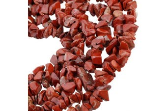 SUNYIK Red Jasper Tumbled Chip Stone Irregular Shaped Drilled Loose Beads Strand for Jewellery Making 90cm