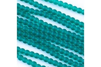 (Peacock Green) - Cherry Blossom Beads Cultured Sea Glass 4mm Peacock Green Round Beads - 16 inch strand