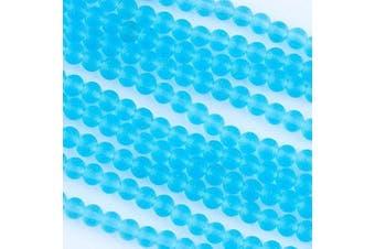 (Light Aqua Blue) - Cherry Blossom Beads Cultured Sea Glass 4mm Light Aqua Blue Round Beads - 16 inch strand