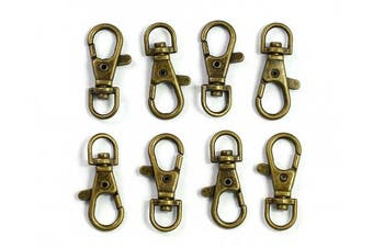(Antique Bronze-50pcs) - ALL in ONE Lobster Claw Swivel Clasps Lobster Snap Clasp Hook for Key Ring DIY Craft Jewellery Making 2.5cm - 1.3cm x 1.6cm (Antique Bronze-50pcs)