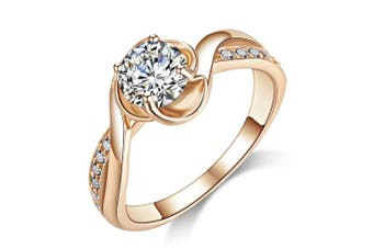 (L) - Acefeel Fashion Champagne Gold Plated Cubic Zirconia Promise Engagement Wedding Ring