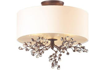 (Eclectic) - Elk 20089/3 Winterberry 3-Light Semi Flush Mount with Glass Shade, 41cm by 38cm , Antique Darkwood Finish