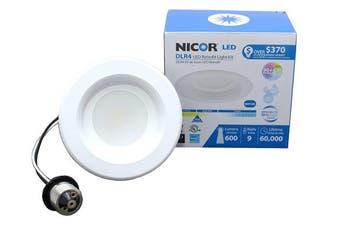 (3000K, White W/ Baffle Trim) - NICOR Lighting 10cm Dimmable 3000K LED Remodel Downlight Retrofit Kit for Recessed Housings, White Baffle Trim (DLR4-3006-3K-WH-BF)