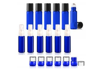 Grand Parfums Cobalt Blue Essential Oil Set of 2ml Glass Orifice Reducer Bottles with Silver Lids, Dram Atomizer Bottles and 5ml Roller Ball Bottles