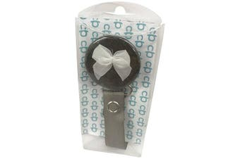 ClassyPaci Lil Bow Pacifier Clip, Grey