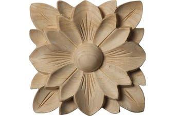"""(Single, 4 1/4""""W x 4 1/4""""H x 5/8""""P, Rubberwood) - Ekena Millwork ROS04X04SPRW Springtime Rosette, 11cm x 11cm x 1.6cm , Rubberwood"""
