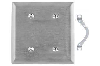 (Strap Mount, 2-Gang 2-Blank) - Bryant Electric SS24 Strap Mount 2-Gang 2-Blank 302/304 Wallplate, Stainless Steel, Standard Size, With Removable White Protective Film