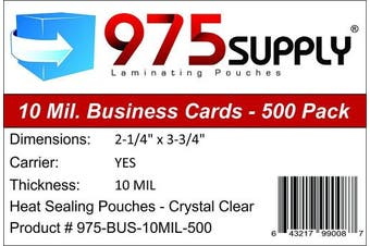 975 Supply - 10 Mil Business Card Laminating Pouches - 5.1cm - 0.6cm x 7.6cm - 1.9cm - 500 Pouches
