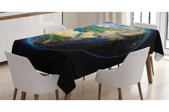 (130cm  W By 180cm  L, Multi 1) - Earth Tablecloth by Ambesonne, Vivid Earth Globe with Blue Seas Greenery Volumetric Clouds Science Theme, Dining Room Kitchen Rectangular Table Cover, 52 W X 70 L Inches, Blue Green Sand Brown