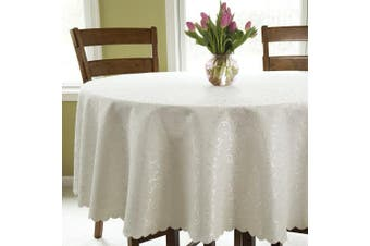 (Round 210cm , Ivory) - Turkish Round Tablecloth Polyester Table Cover - Stain Resistant Wrinkle Free Non-Iron Dust-Proof Oblong Square Round – Table Cover for Wedding Christmas New Year eve Gift Idea (Ivory, Round 210cm )