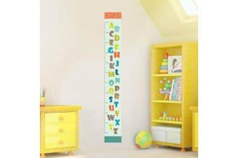 (DIY Size, Cartoon Alphabet Height Chart) - BIBITIME Cartoon Alphabet Height Chart English Letter Growth Charts Measurement Ruler for Nursery Bedroom Kids Room Decor Decal Sticker Living Room Porch Door (Minimum scale: 60cm; Max:170 cm)