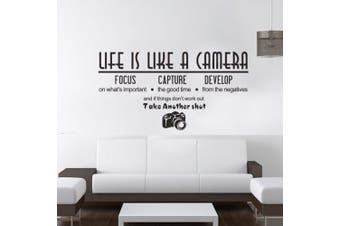 (Reference, Life is Like a Camera) - BIBITIME Art English Sayings Words Life Is Like A Camera Wall Quotes Lettering Focus Capture Develop Inspirational Sticker for Living Room Bedroom,60cm x 30cm