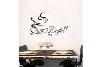 (Reference, Coffee Cup Sayings) - BIBITIME Black Coffee Cup Sayings English Word Wall Vinyl Sticker Bedroom Art Mural Decals Quotes for Shop Bar Window Glass Door,60cm x 35cm