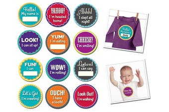 (Milestone Momentos) - Sticky Bellies Monthly Milestone Stickers, Milestone Momentos, Baby's Firsts