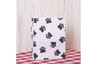(Dog's Paw Prints) - Gift Bags 25Pcs 8x 4.190cm x 27cm BagDream Shopping Bags,Cub, Paper Bags, Kraft Bags, Retail Bags,Dog's Paw Prints Paper Bags with Handles
