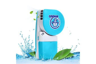 (Blue) - LUCKSTAR Handheld Cooler Fan - Small Fan Mini-Air Conditioner Speed Adjustable Summer Cooler Fan With Water Bottle Powered by Batteries or USB Cable for Home / Office / Travel / Outdoor (Blue)