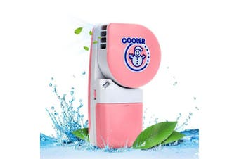 (Pink) - LUCKSTAR Handheld Cooler Fan - Small Fan Mini-Air Conditioner Speed Adjustable Summer Cooler Fan With Water Bottle Powered by Batteries or USB Cable for Home / Office / Travel / Outdoor (Pink)