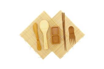 (1 Set, Natural Bonus) - BambooMN Sushi Making Kit - 2 Natural Sushi Rolling Mats, Rice Paddle, Spreader, Chopsticks, Sushi Sauce Dish, and Free Spork - Deluxe Sushi Set