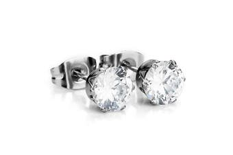 Chryssa Youree Stainless Steel Mens Womens Stud Earrings Clear Round Cubic Zirconia Inlaid, 3mm-8mm Available (ED-69) (Stone Diameter 3mm)