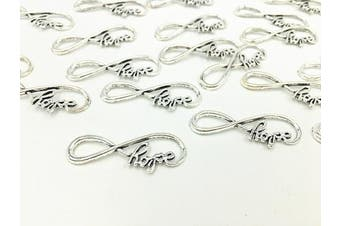 (8 Infinity Symbol with Hope(Silver)) - 40pcs Infinity Hope Symbol Connectors Charms Pendants for DIY Necklace Bracelet Jewellery Making Accessories(Antique Silver)