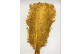(gold) - ADAMAI 100PCS Natural 35cm - 40cm Ostrich Feathers Plume for Wedding Centrepieces Home Decoration (gold)