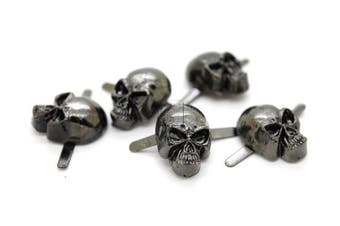 (Small 8 x 14 mm, Gunmetal) - CRAFTMEmore Silver or Gun Black Skull Head Bone Prong Stud Gothic Style Ghost Studs Leather Craft Decorations Pack of 10 (Small 8 x 14 mm, Gunmetal)
