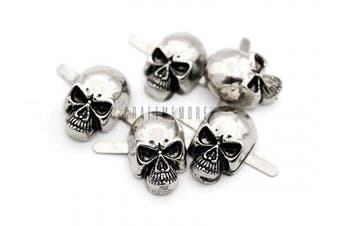 (Small 8 x 14 mm, Silver) - CRAFTMEmore Silver or Gun Black Skull Head Bone Prong Stud Gothic Style Ghost Studs Leather Craft Decorations Pack of 10 (Small 8 x 14 mm, Silver)