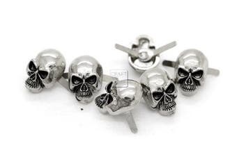 (Medium 10 x 15 mm, Silver) - CRAFTMEmore Silver or Gun Black Skull Head Bone Prong Stud Gothic Style Ghost Studs Leather Craft Decorations Pack of 10 (Medium 10 x 15 mm, Silver)
