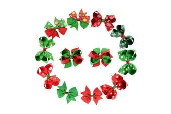 Coobbar 12pcs 4.5cm Christmas Bow Knot Hair Pins Handmade Hair Accessories for Christmas Day,Celebration