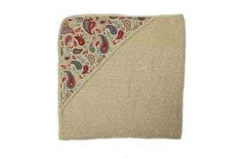 aBaby Infant Hooded Towel, Natural Paisley