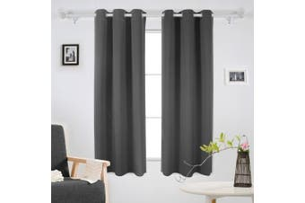 (110cm  x 160cm , Dark Grey) - Deconovo Room Darkening Grommet Window Bedroom Panels Set of 2 Thermal Insulated Noise Cancelling Dark Grey Blackout Curtains for Bedroom 110cm x 160cm